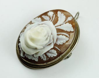 Vintage Victorian (1837-1901) Style Silver Pre-Raphaelite Rose Conch Shell Cameo Brooch