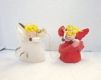 Vintage Christmas Angel 1960s Tree Ornament Spun Cotton Head Gauze Wings Red White Set of 2