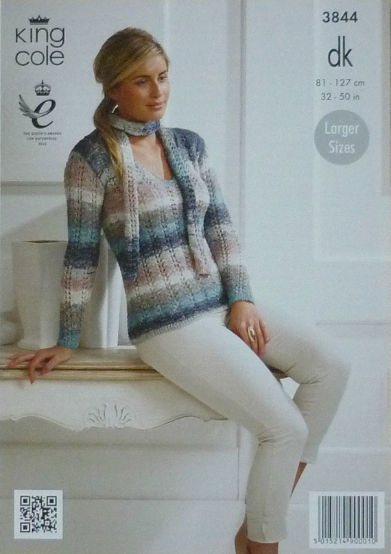 Womens Knitting Pattern K3844 Ladies Long Sleeve V Neck Lacy Jumper