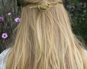 """Hammered oval hair slide open circle hair barrette 4.5"""" hair fork simple hair pin bun holder minimalist hair accessories hair clip for her"""