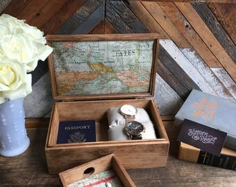 The Perfect gift for ANYONE :) Handmade watch box and valet tray combo - Jewelry Box - Map -
