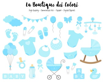 Blue Baby Boy Clipart, Cute Graphics PNG, Scrapbook Invitation baby shower, nursery Clip art, Planner Stickers Commercial Use
