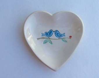 Valentine, Ceramic Heart Plate, Hand Built, Handpainted Blue Love Birds