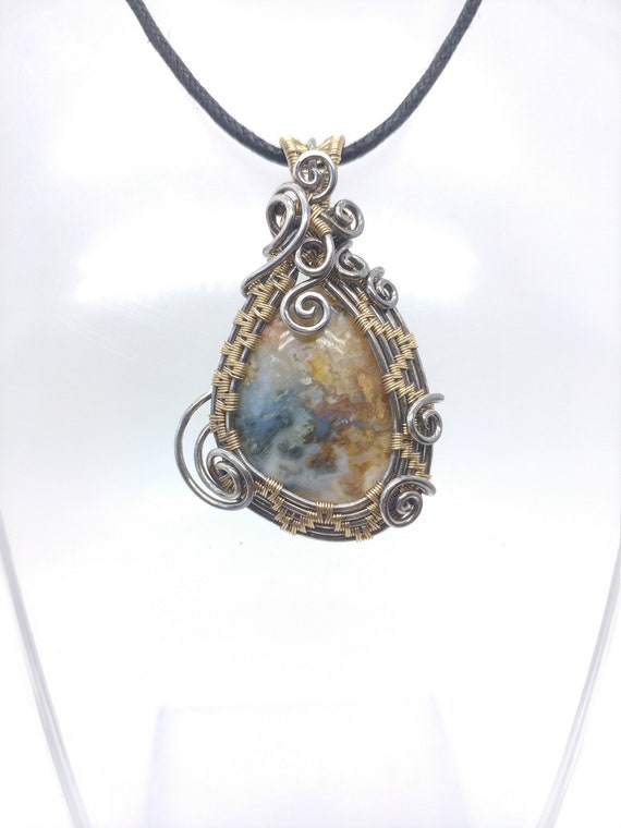 Widowmaker Plume Agate Pendant Necklace | Wire Wrapped Sterling Silver & 14kt Yellow Gold Fill Pendant | Wirewrapped Stone Pendant