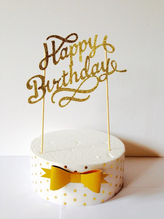 gold happy birthday cake topper fancy cake topper1st