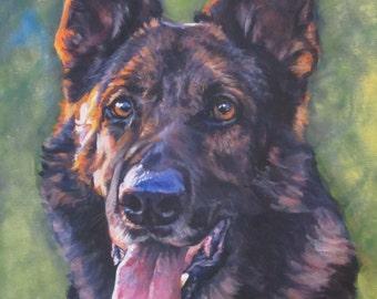 German Shepherd dog art portrait CANVAS print of LA Shepard painting 12x16