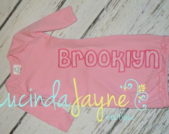 Appliquéd Name Newborn Pink Gown