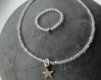 Mountain Crystal bracelet with matching ring/sterling Silver Star/customizable/gift for you/faceted/2 mm/single pieces/handmade/