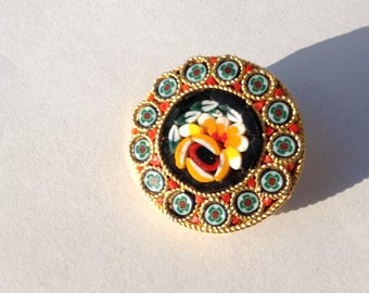 Brooch Pin Decorative Micro Mosaic Floral  Italian Collectible