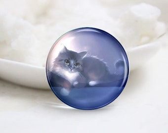 10mm 12mm 14mm 16mm 18mm 20mm 25mm 30mm Handmade Round Photo Glass Cabs Cover-Cat (P2063)