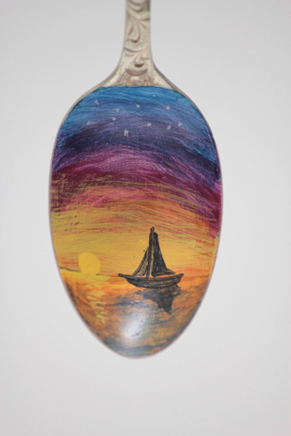 Sailboat, Sunset Cruise, Unique, Collectible Painted Spoon, Sunset art, Small Gift, marine art ornament