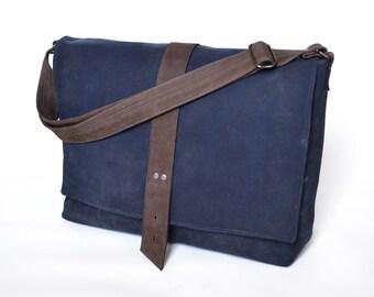 Canvas Messenger Bag Men, Waxed Canvas Professional Satchel, Crossbody Mailman Reporter Bag, Guys Shoulder Carrier Bag - The Sloane in Navy