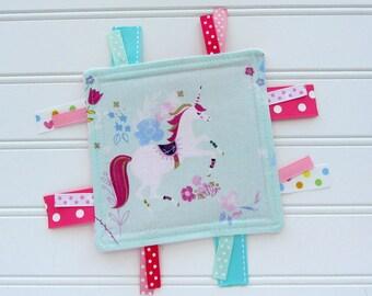 Unicorn Baby Girl Crinkle Toy, Ribbon Toy, Baby Girl Crinkle Toy, Sensory Tag Toy, Babies First Toy, Baby Girl Gift