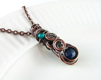 Wire Wrapped Jewelry Lapis Lazuli Necklace Copper Jewelry Wire Wrap Pendant Copper Necklace Wire Wrap Necklace Copper Wire Wrap