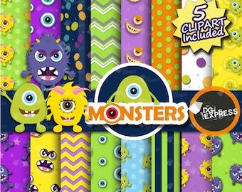 "Monster Digital Paper + Clipart : ""Monster Paper""- Monsters Clipart, Monsters Birthday Invitation, Monsters Printable, Monsters paper"