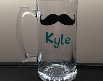 Personalized Beer Mug with Moustache & Name