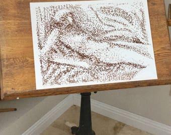 Artwork, Unframed, Original Sketch, Brown and White Drawing