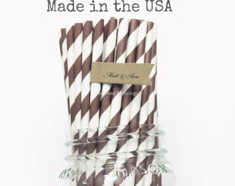 25 Brown Paper Straws, Chocolate Striped Straws, Wedding Straws, Rustic Birthday Party Supplies, Baby Shower, Cake Pop Sticks, Made in USA