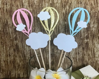 Hot Air Balloon Cupcake Toppers | Cloud Cupcake Toppers | Baby Shower Cupcake Toppers | Baby Boy Baby Girl Cupcake Toppers Set of 5