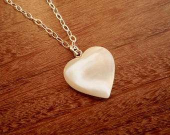 Small white mother of pearl heart necklace with sterling silver chain, White heart pendant, Valentine's day gift for her