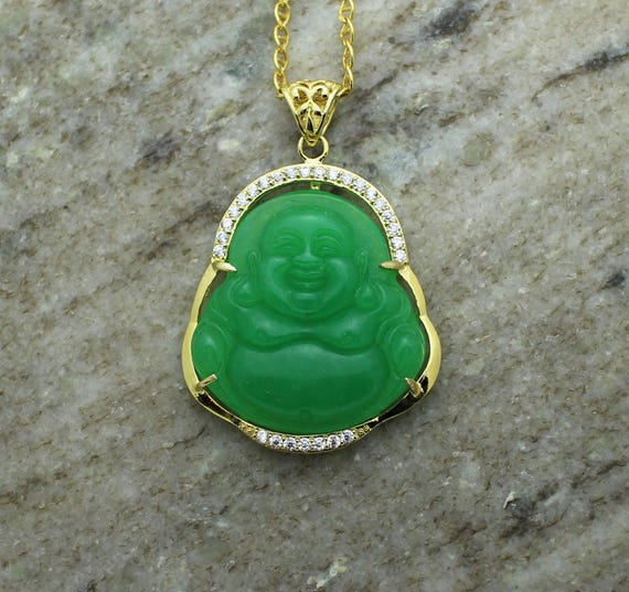 Custom 3d jade 14k yellow gold laughing buddha pendant charm mozeypictures Choice Image