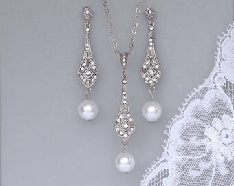 White Gold Bridal Set, Pearl Bridal Set, Earrings and Necklace Set, Bridesmaids Jewelry Set, Pearl Drop Earring Set, VIOLET SRP
