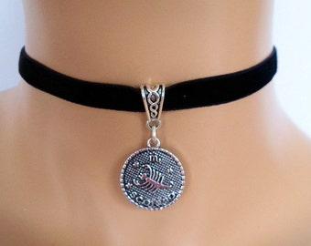 velvet choker, scorpio choker, scorpio necklace, stretch ribbon, black velvet, zodiac