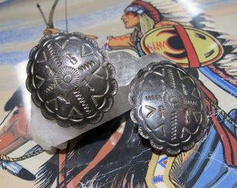 Vintage Concho Mexico Earrings stud pierced ears Large TP-54 925 mark 6i241