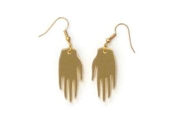 Gold hand earrings