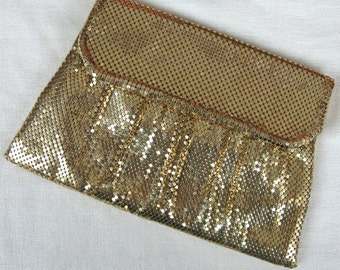 Vintage 1940's Whiting & Davis Clutch 40's Gold Metal Mesh Sparkling Evening Clutch with Comb