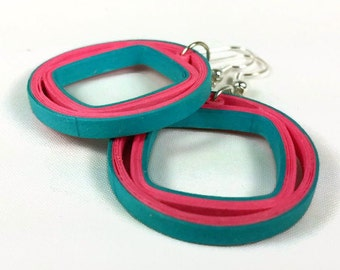 Turquoise and Coral Earrings Quilling- coral and turquoise, summer earrings, paper earrings, paper gift, geometric earrings, modern earrings