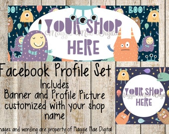 Cute Monsters Facebook Set, Facebook banner, Facebook graphics, Facebook cover photo, store graphics, timeline set, Halloween, boo, fall