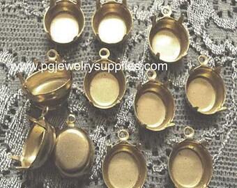 12mm x 10mm oval brass settings closed back one ring pendant setting CB1R 12 pcs lot l