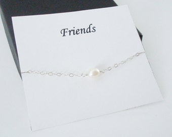 Solitaire White Pearl Sterling Silver Bracelet ~~Personalized Jewelry Gift Card for Friend, Best Friend, Sister, Bridal Party, Graduation