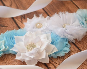 Flower Sash, light blue white Sash, #2  , flower Belt, maternity sash
