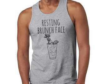 Resting Brunch Face Men's Tank Top, Men's Graphic Tank Top, Shirts with Sayings, Gray