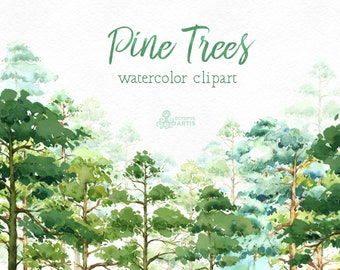 Pine Trees. Watercolor pines, forest, wood, landscape, frame, quote, hand painted clipart, greeting card, diy clip art, woodland, green