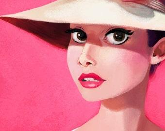 Audrey Hepburn Print, Pink