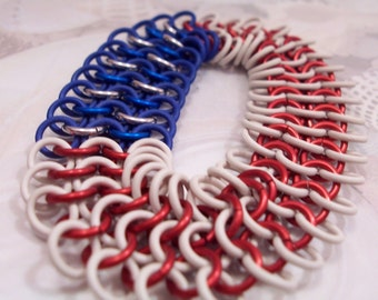 Patriot Red White and Blue Stretchy Chainmaille Bracelet