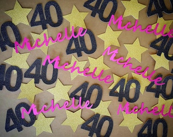 40th Birthday Decorations / 200 Pieces / 40th Birthday Confetti / Custom Name And Colors / You Choose / Birthday Confetti / Custom Confetti