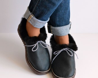 Womens Slippers, Shoe Slippers, Leather Slippers, Brown Slippers, House Shoes, Fur Slippers, Gift for Her, House Slippers, Handmade Slippers