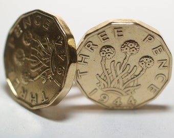 1944 Threepence 3d 74th birthday Cufflinks - Original 1944 threepence coin cufflinks 73rd