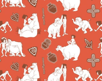 Disney Fabric Jungle Book Fabric Line Art in Red Fabric From Camelot