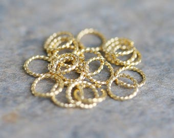 Gold Plated Twisted Jump Rings, Delicate Jump Rings