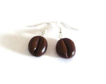 Coffee bean Earrings Coffee lover earrings Unusual earrings Quirky earrings Coffee jewelry Different earrings