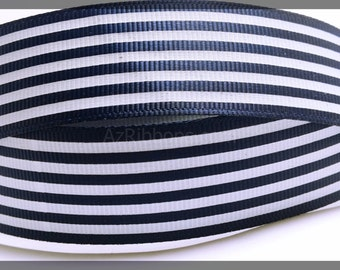 """Nautical Navy Blue and White Striped Lines Printed Grosgrain Ribbon 7/8"""" Wide Scrapbooking HairBows Parties DIY Projects  az161"""