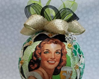 St Patrick's Day Ornament | Quilted Ornament| Harp | Irish Lady | Irish Ornament | St Patty's Day Ornament | Shamrock