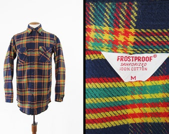 Vintage Frostproof Flannel Shirt Sanforized Blue Plaid Cotton Made in USA - Medium