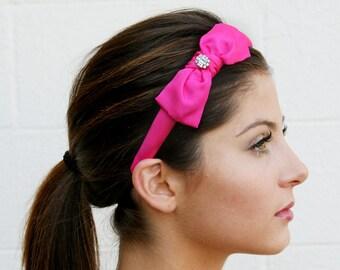 Pink Bow Headband With Swarovski Crystal Embellishment