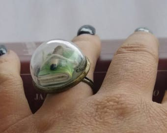Maxi ring with real hand-bound mini verde book and mini pencil. Mounted on an adjustable base in bronzed metal and glass cover